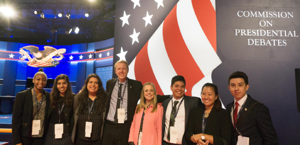 Students in the vice presidential debate hall.